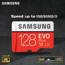 карта памяти SAMSUNG Micro SD card Карты Памяти EVO + Плюс 256 ГБ 128 ГБ 64 ГБ 32 ГБ 16 Г Class10 TF Карта C10 sim-карты 100 МБ/С. SDHC/SDXC UHS-I128gb micro sd 128 ГБ