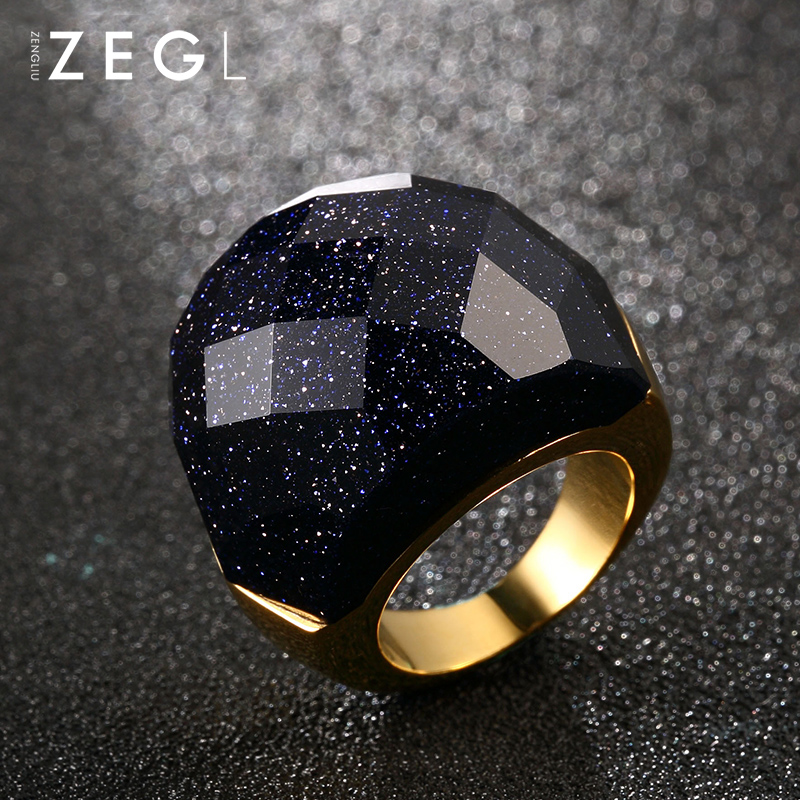 ZEGL Fashion Ring Woman Ring Jewelry Blue Exquisite Ring Jewelry