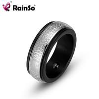 RainSo 2017 New Fashion Hematite Magnetic Health Mens Ring Black Stainless Steel Double Circle Ring Bio