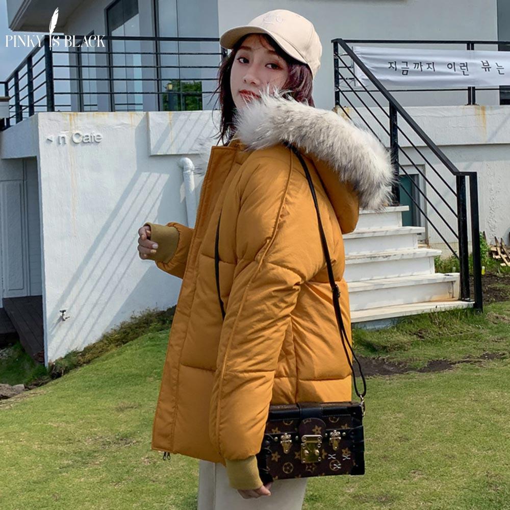 PinkyIsBlack 2019 Fashion Loose Warm Winter Jacket Women Hooded Fur Coat Down   Parkas   Short Cotton Padded Jacket Female Outwear