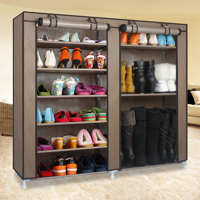 House Scenery Double Arrangement Large Vapacity Non-Woven ShoeRacks Cabinet Combination Shoe Boots Dustproof Cover Layers Shelf