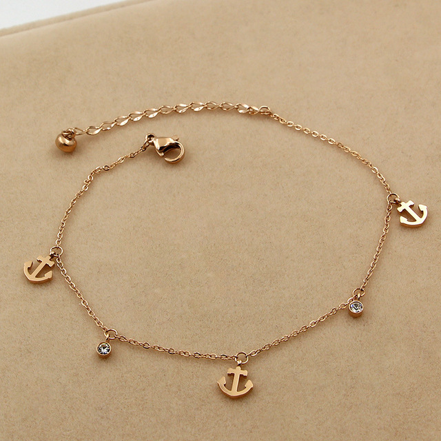 JIETHLING Hot Sell Anchor Anklet Foot Jewelry Rose Gold Titanium