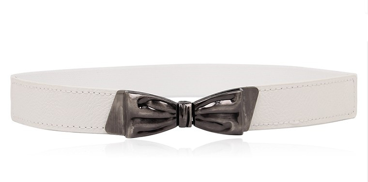 Women Vintage Bow Buckle Strap Belts Waistband Stretch Cummerbund Thin Skinny Elastic PU Leather Cummerbunds Accessories Female