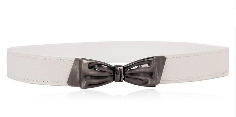 Women Vintage Bow Buckle Strap Belts Waistband Stretch Cummerbund Thin Skinny Elastic PU Leather Cummerbunds Accessories Female