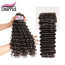 Stema Malaysian Remy Deep Wave Bundels With Closure Hair 3 Bundles With 4x4 Lace Closure Hair Extension Free Shipping(China)
