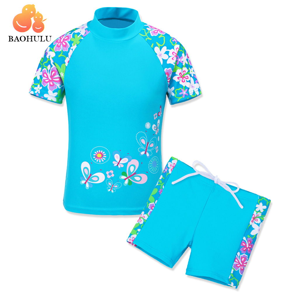 BAOHULU Short Sleeve Print Swimsuit Kids Baby&Big Girls Swimwear UV Protection 50+ Two-Piece Youth Children's Bathing Suits flounce flowers print two piece swimsuit