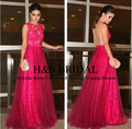 New arrival sleeveless tulle and lace Fuchsia backless vestido de festa longo wedding party dress long lace bridesmaid dresses