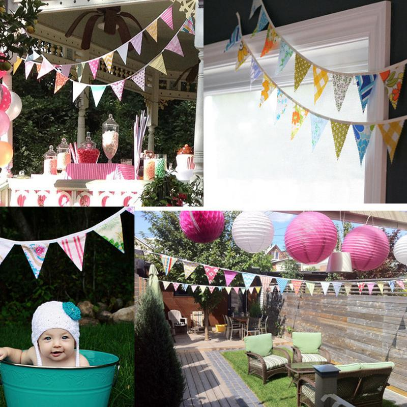 12 Flags 3.2m Cotton Fabric Bunting Pennant Flags Banner Garland Wedding/Birthday/Baby Show Outdoor Party Decor