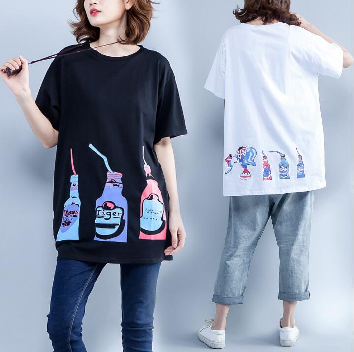 T-Shirts Summer Women Loose Cute Print. O-Neck Tees Tops Female Basic White Black Tshirt Hit Color Casual Oversize Clothes XXL