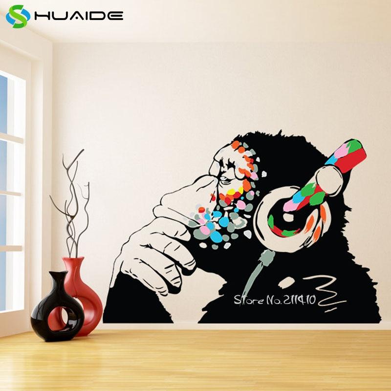 Большие уличные художественные граффити виниловые наклейки на стену домашний декор для гостиной разноцветные забавные обезьяны с наушниками Наклейка на стену A628
