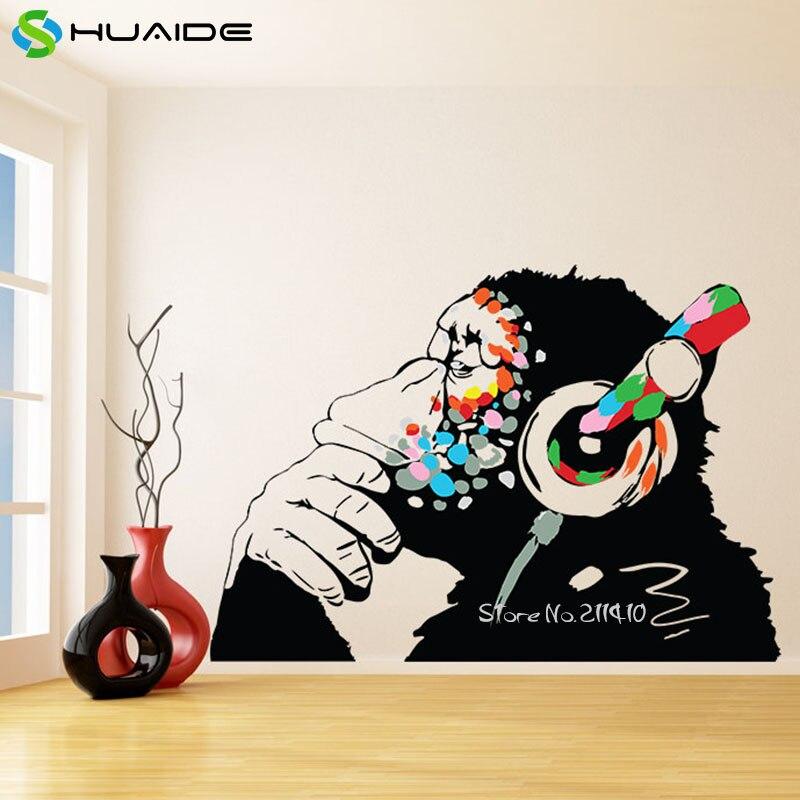Grand Street Art Graffiti vinyle Stickers muraux décor à la maison salon multicolore drôle singe avec casque autocollant mural A628