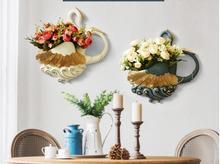 European swan wall decoration decorative creative hanging vase flower basket living room background wa
