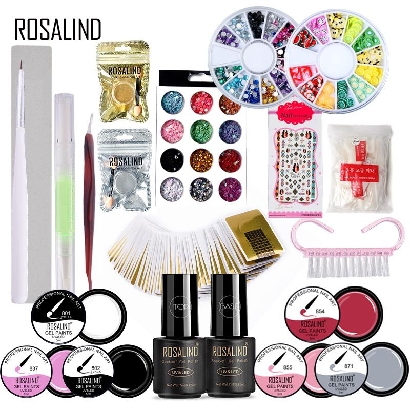 Rosalind 21PCS Nail Gel polish Tool Set Kit UV Lamp 5ML Nail Brush Painting Gel Polish Base Top 6W Nail Art 1 Set For Manicure rosalind 5 pcs set 2 way dotting pen nail tool nail art pen set for uv gel nail too marbleizing painting tool nail art dot set
