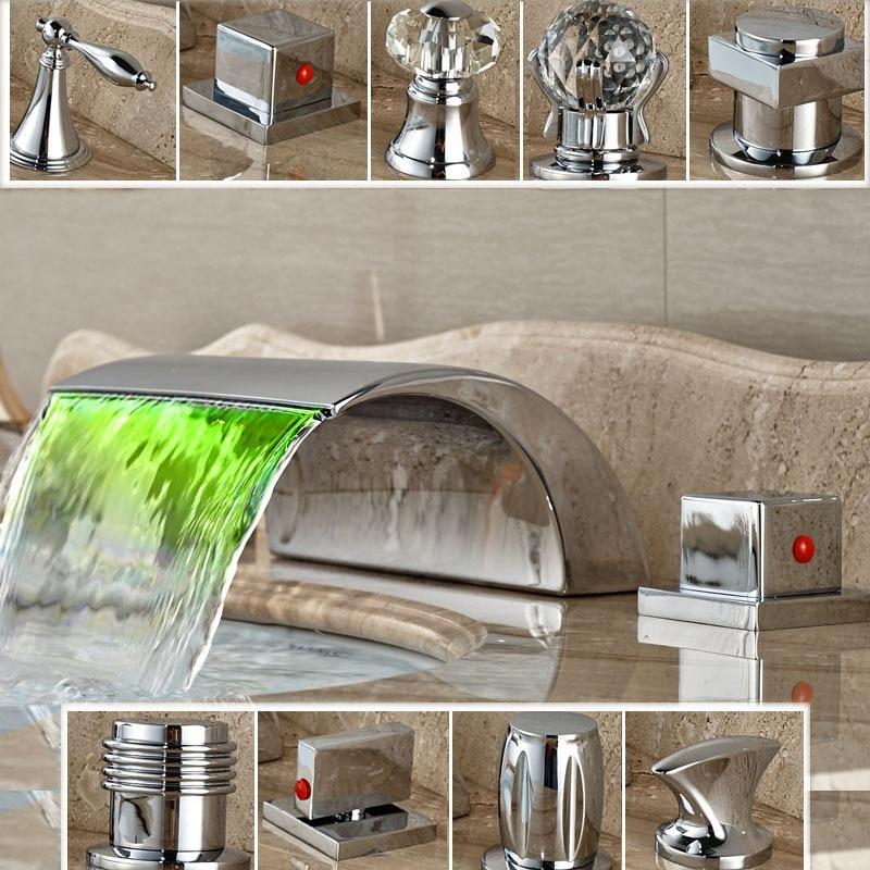 ФОТО RGB Colors LED Light Basin Sink Faucet Dual Handle Bathroom Dual Handle Brass Mixers Chrome Finish