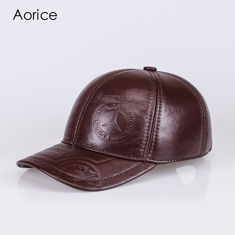 Aorice Winter Genuine Hat Leather Men Baseball Cap CBD High Quality Men's Real Leather Adult Solid Adjustable Hats Caps HL023 ht647 warm winter leather fur baseball cap ear protect snapback hat for women high quality winter hats for men solid russian hat