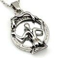 Cobra retro witch espelho colar de pingente de fundição de aço inoxidável 316l para as mulheres top quality jóias vintage WP1018