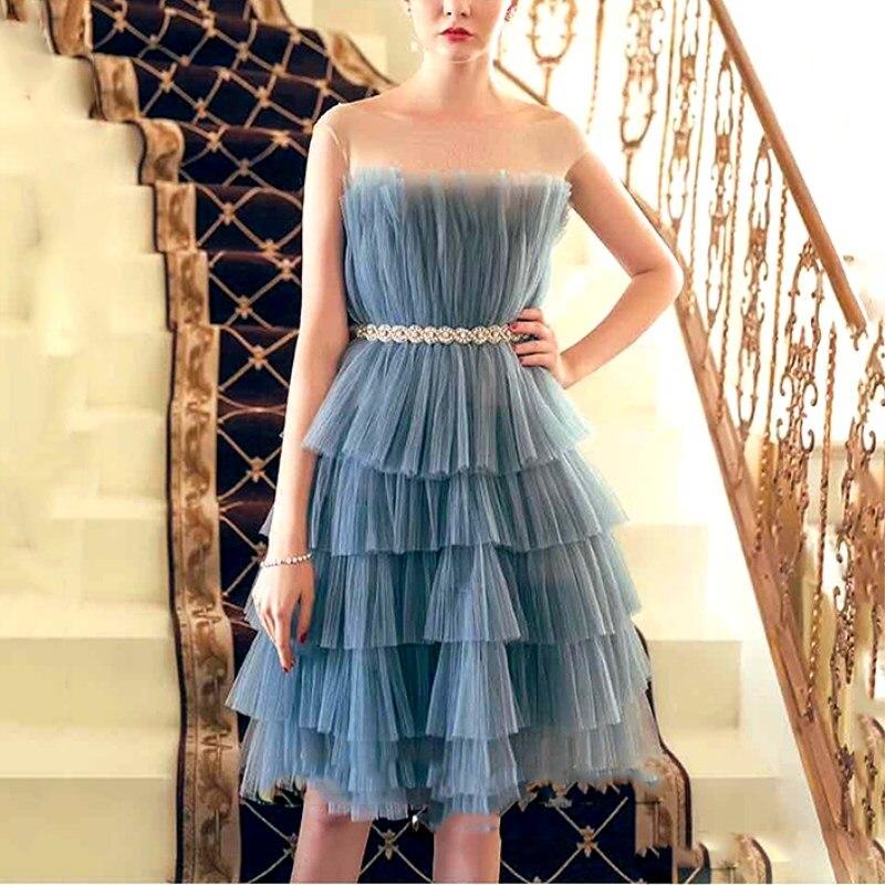 Robes de soirée femmes bleu rose luxe diamants taille Dec robes Sexy couches robe de bal sans manches volants robe gracieuse CC081