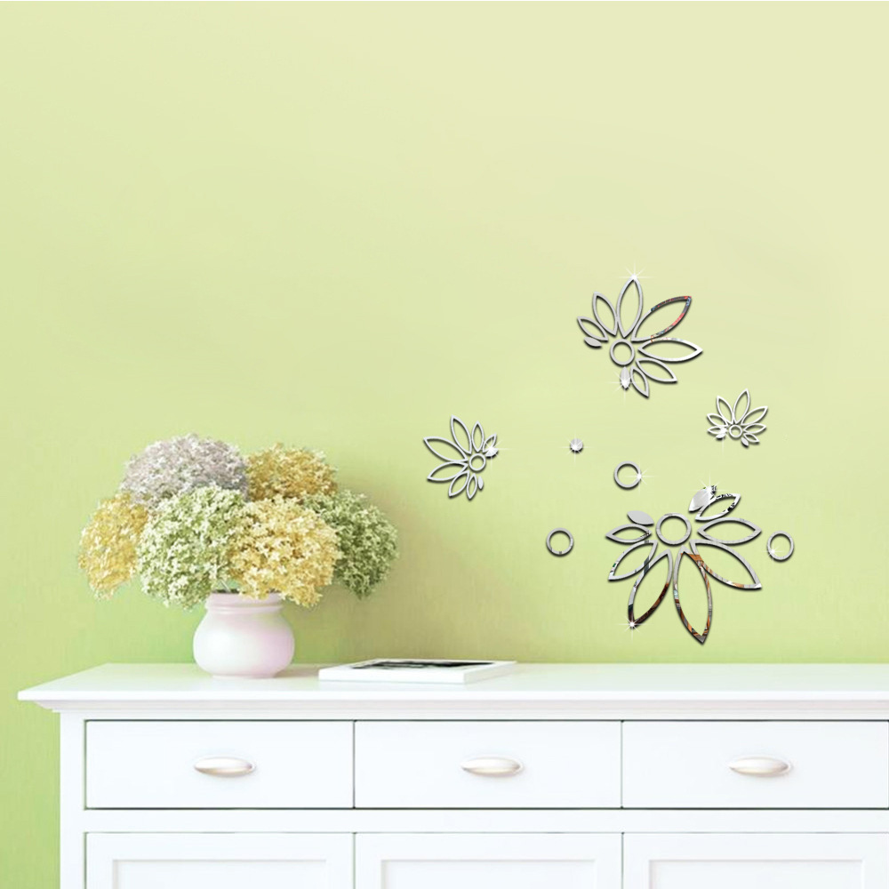Decorative 3d Acrylic Mirror Wall Stickers Flowers Home Door Store ...