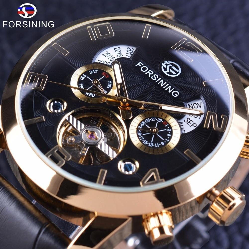 Forsining Golden Bezel Tourbillion Men Watch divat önálló tekercselés automatikus karóra Férfi óra Top márka mechanikus luxus