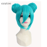 Ccutoo 35cm Blue Shor Base Body Double Chip Buns Removable Synthetic Hair Heat Resistance Fiber Party