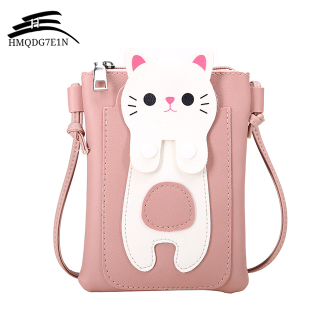 Spring and Summer 2018 New Mini Women s Crossbody Messenger Bags Fashion  Simple Mobile Phone Bag Cute Cat Shoulder Beach Bag 708a754a8d24e