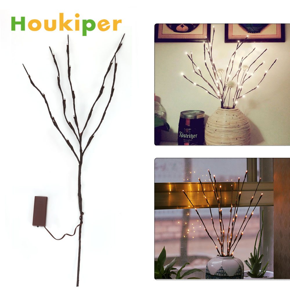 Houkiper Led Battery Branch Lights Decorative Willow Twig Lighted For Home Decoration Warm White 20 In Figurines Miniatures From