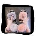 Luxo feminino borlas bola de cabelo de coelho top quente tampa traseira phone cases para iphone 6 s 6 splus 7 além de 7 case