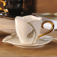 2017 Luxe crystals necklace European Style Milk Cup Coffee Cups with saucer spoon Tea Cup 200ml DrinkWare For Lovers Gift