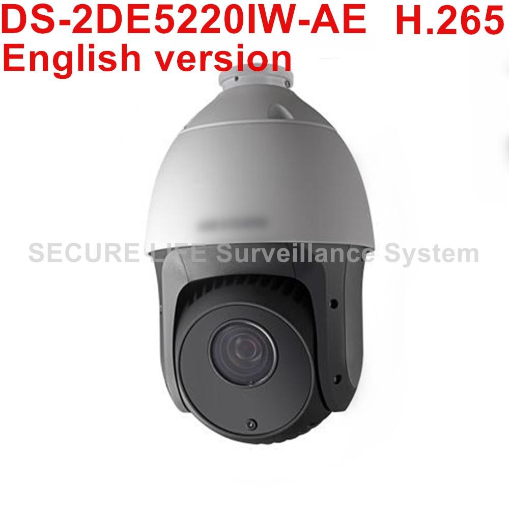 Free shipping English version DS-2DE5220IW-AE 2MP H.265 20X Network IR PTZ p2p camera 150m IR POE cctv camera hikvision english version ds 2de5220iw ae 2mp 1080p ptz cctv h 265 ip camera 4 7mm 94mm 20x zoom support ezviz cloud ip66