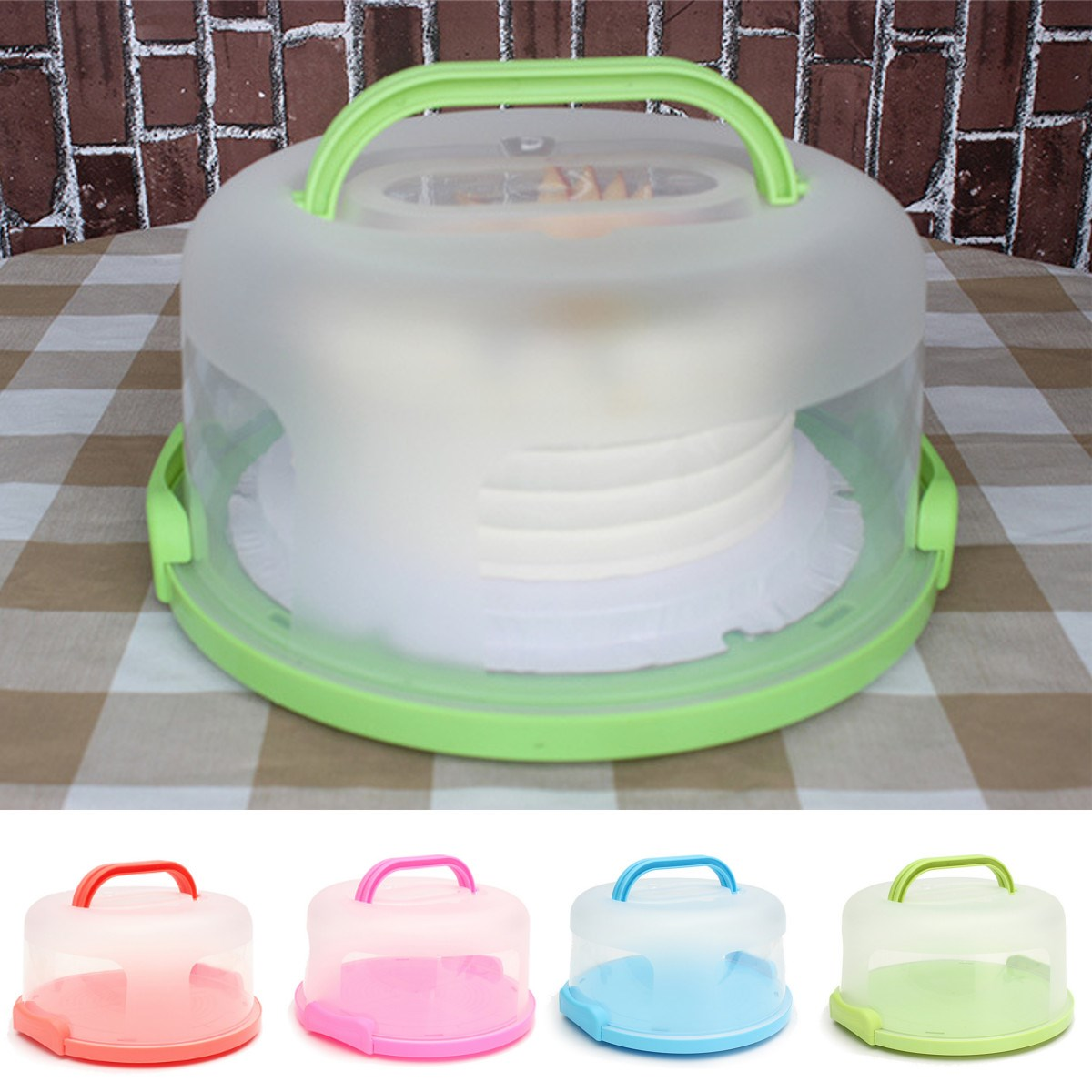 4 Colors Handheld Round Cake Carrier Plastic Storage ...
