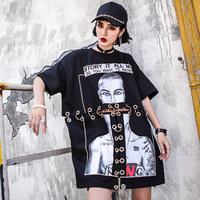 TREND Setter 2019 Summer Fashion Metal Ring T Shirt Women High Street Loose Hollow Out Hip Hop Style T Shirt Letter Tops