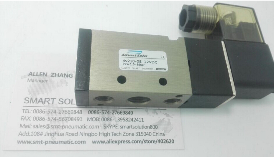 free shipping 4v210-08 solenoid valve, pneumatic type 5/2 , 2 way 5 position pneumatic directional valve купить