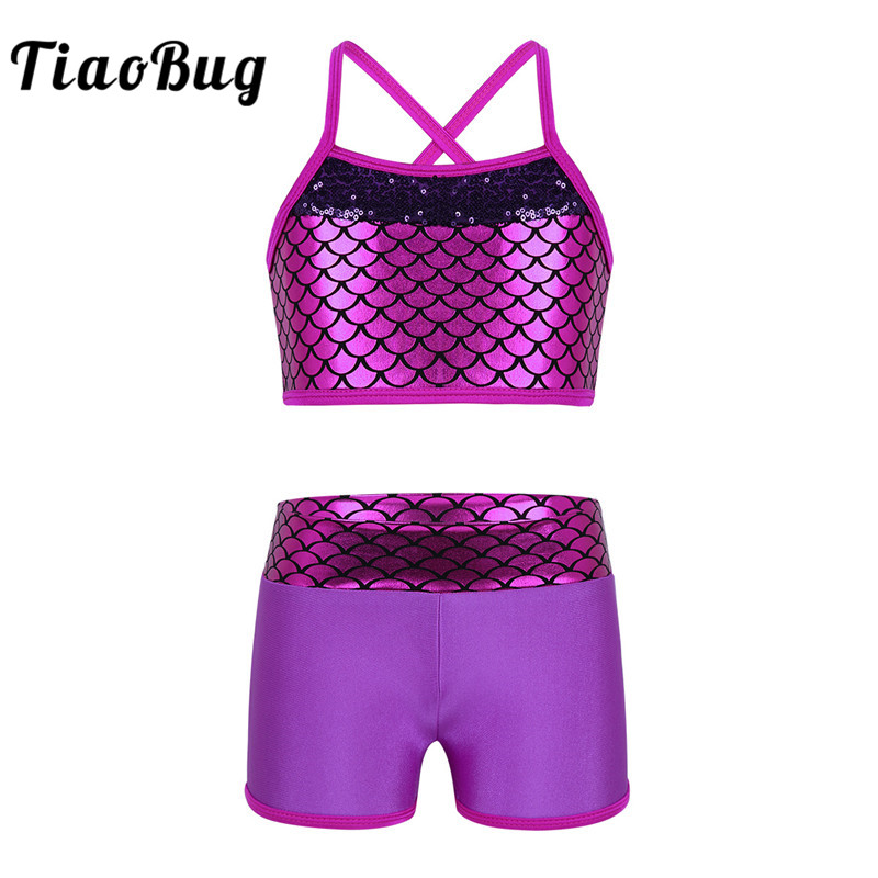 TiaoBug Cute Kids Teens Sequins Mermaid Scales Crop Top with Shorts Set Girls Tankini Gymnastics Workout Ballet Party Dance Wear