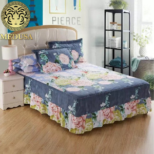 Medusa country style shabby chic bed skirt pillow cases 3pcs bed linen set of double full twin size bed