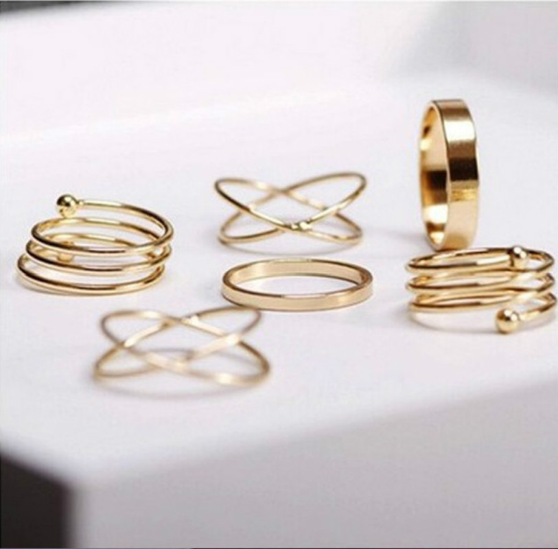 2018 new fashion jewelry exaggerated joint ring 6 piece set of womens wholesale