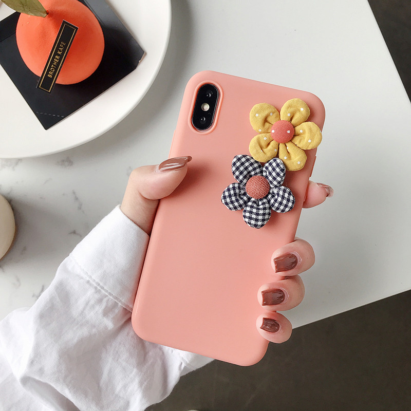 Image 3 - 3D Artificial Cloth Flower Phone Case For iPhone 8 7 6 6s Plus Cover For iPhone X XS Max XR Fashion Floral DIY Soft Back Cover-in Fitted Cases from Cellphones & Telecommunications