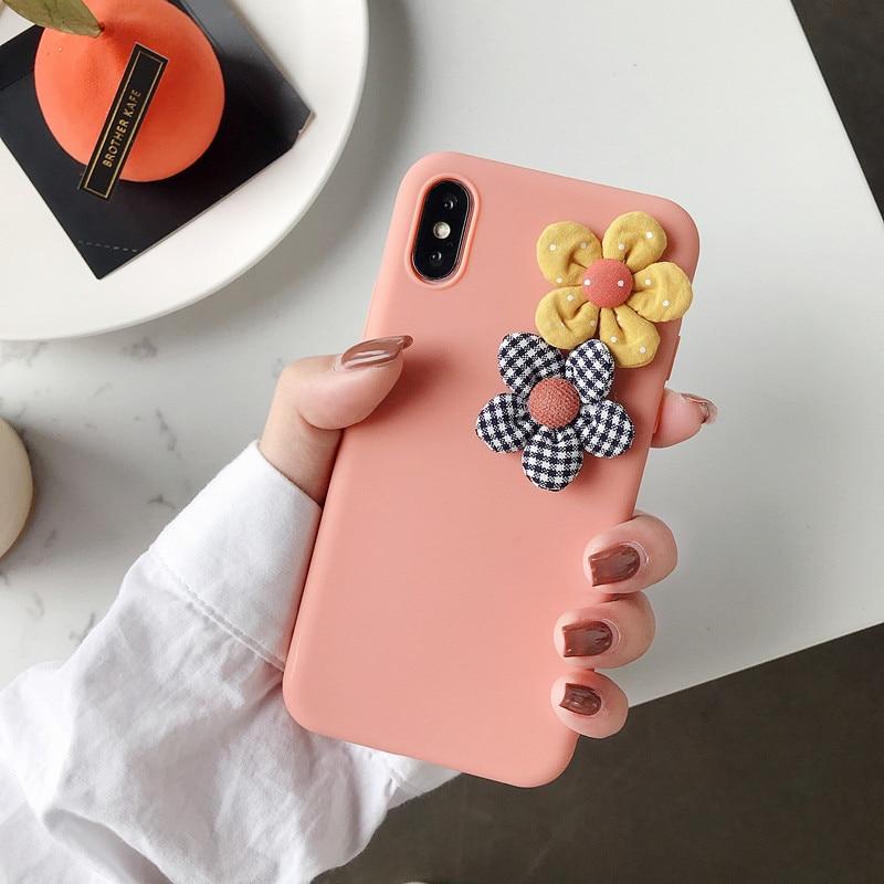 Image 3 - 3D искусственная ткань цветочный чехол для телефона iPhone 8 7 6 6s Plus чехол для iPhone X XS Max XR Модный цветочный DIY мягкий чехол-in Подходящие чехлы from Мобильные телефоны и телекоммуникации