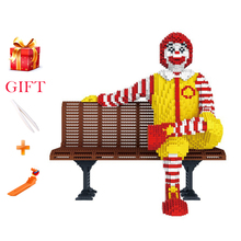 Śmieszne kreskówki Ronalde McDonalde klocki prezenty dla dzieci klasyczny obraz mikro diament Assemblage Model cegły zabawki