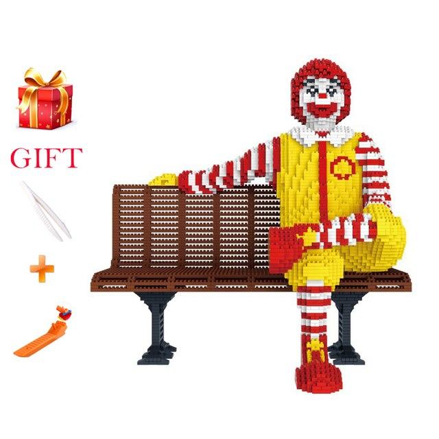 재미 있은 만화 ronalde mcdonalde 빌딩 블록 어린이 선물 클래식 이미지 마이크로 다이아몬드 조립 모델 벽돌 장난감