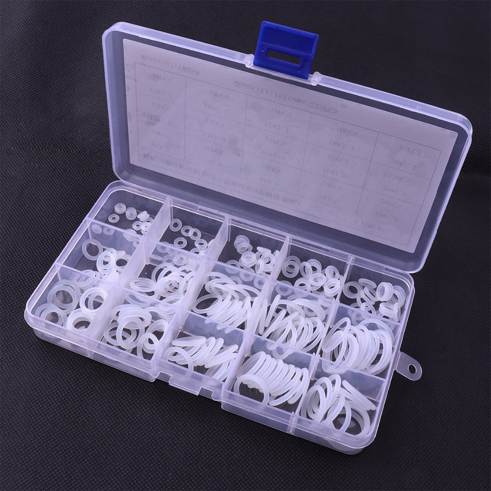 Durable 225Pcs 15 Sizes Silicon O Ring O-Ring White Round Mini ORing Washer Seals Assortment Kit Set With Plastic Case 300pcs red silicon o ring seal kit 15 different sizes o ring gasket set vmq o ring assortment set with plastic case