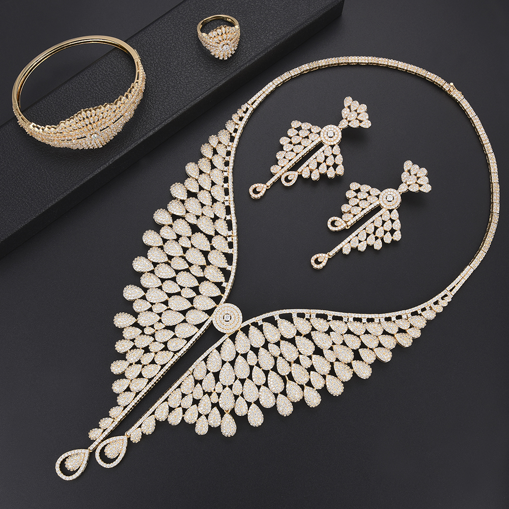 Siscathy Luxury Statement Jewelry Sets For Women Bridal Wedding Cubic Zirconia Big Necklace Drop Earrings Ring Bracelet Bangle