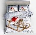 Набор пододеяльников с милым котом  Комплект постельного белья из 2 предметов с красной шапкой  спальным рисунком на санях для взрослых и де...