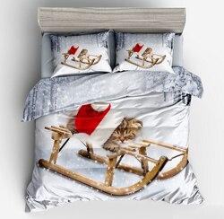 Piękny kot kołdra zestaw osłon kot z czerwony kapelusz do spania na sankach dla dzieci dla dorosłych dekoracja sypialni 2/3 sztuk zestaw pościeli z poszewka na poduszkę