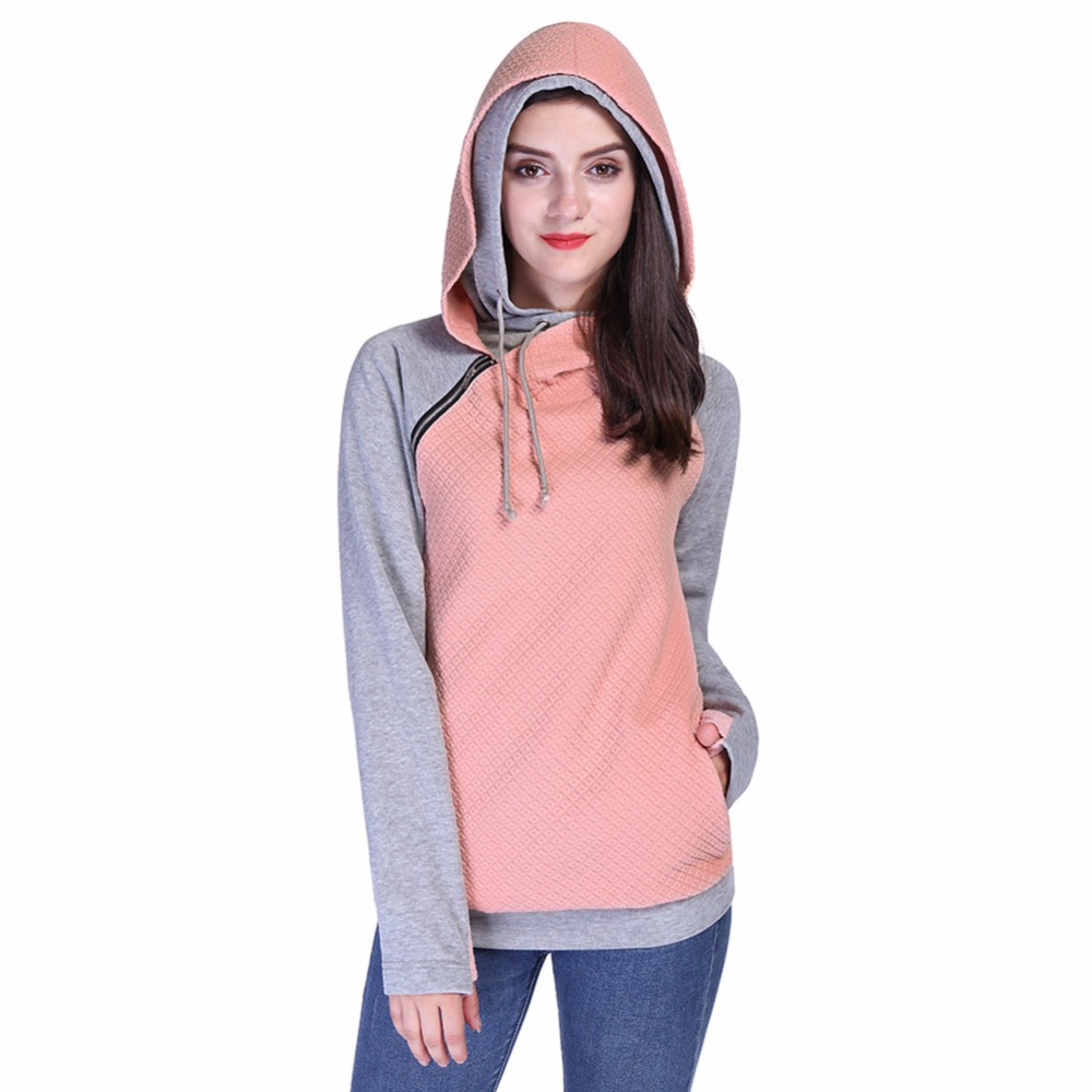 2017 New Pink Hoodies Sweatshirts Patchwork Hooded Pullover Women Lady Kawaii Felpe Donna With Zipper Finger Design W5034