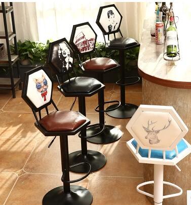Iron art bar chair. European-style bar chair lifting high footstool. Household backrest stool.