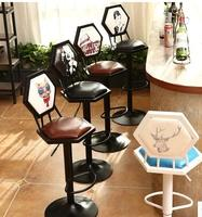 Iron art bar chair. European style bar chair lifting high footstool. Household backrest stool.