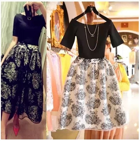 2017 New Fashion Vintage Elegant Two Pieces Female Vestidos Summer Twinset Women Organza Ball Gowns Flora Pattern clothes
