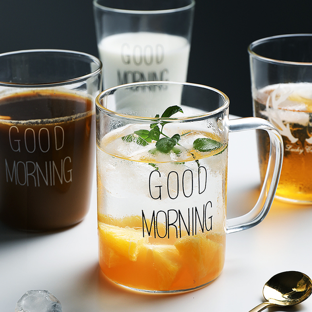 Crystal Glass Milk Mug Coffee Cup Juice Mug Good Morning Mugs In