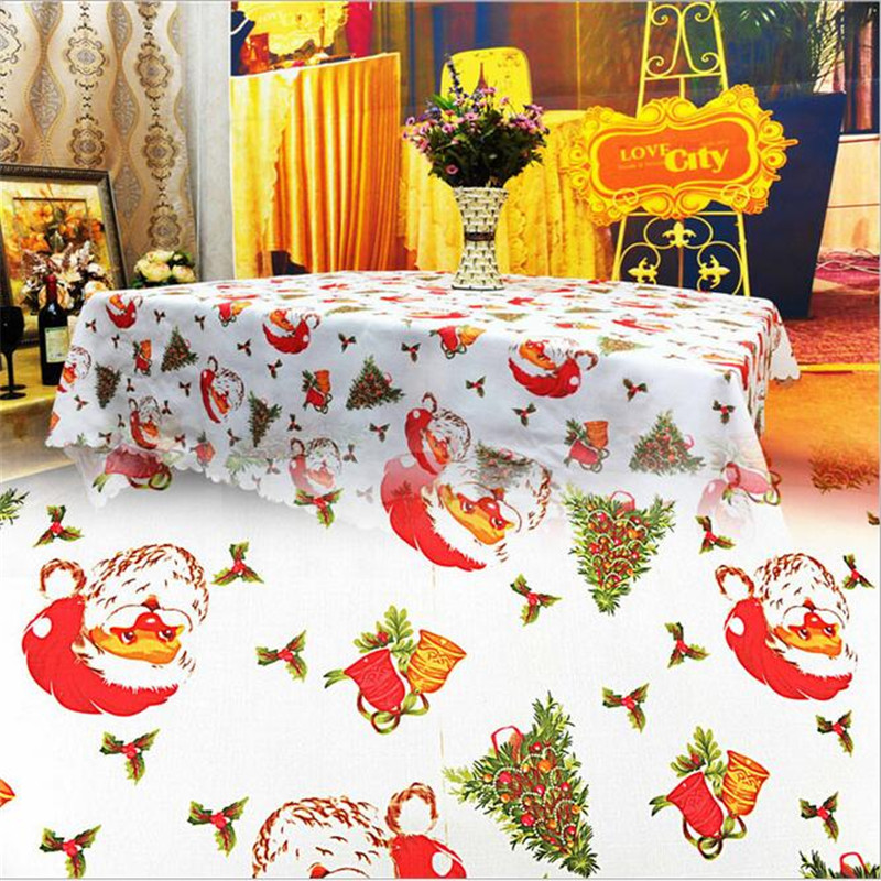 1Pcs 150x180cm Square Printed Tablecloth Santa Claus, Christmas Tree Bells  Design Tablecloth Christmas Table Cloth In Tablecloths From Home U0026 Garden  On ...