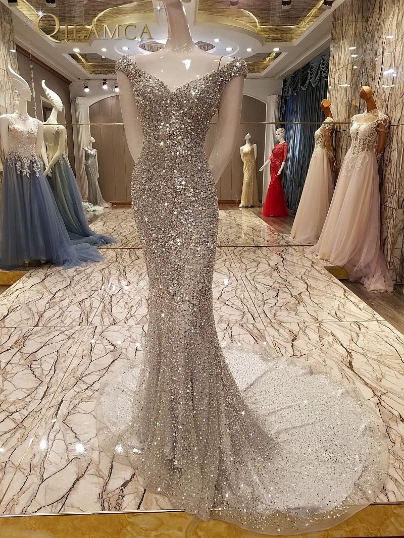 Luxury Evening font b Dresses b font abendkleider Heavy Beaded Bling Bling Off Shoulder font b